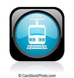 train black and blue square web glossy icon