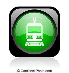 train black and green square web glossy icon