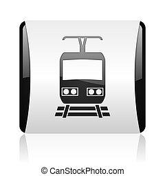 train black and white square web glossy icon