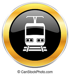 Train black web icon with golden border isolated on white background. Round glossy button.