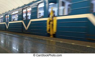 train, bleu, métro