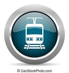 train blue silver chrome border icon on white background