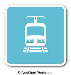 train blue square internet flat design icon