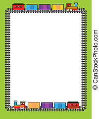 Train Border - A border of train tracks with two trains...