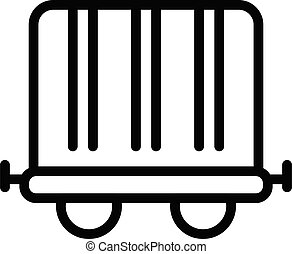 Train boxcar icon. Outline train boxcar vector icon for web design isolated on white background