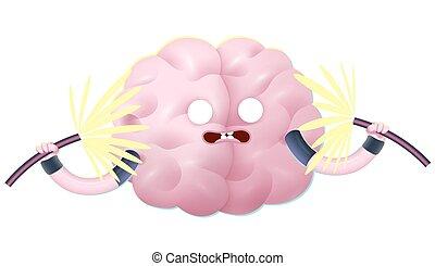 train, brain., ton, choqué
