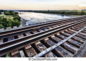 Train Bridge high over the River below