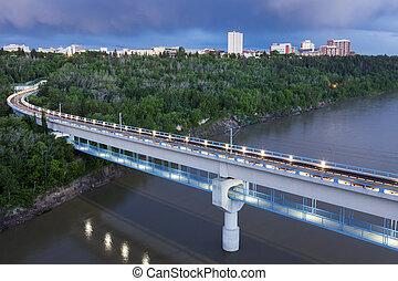 Train bridge in Edmonton