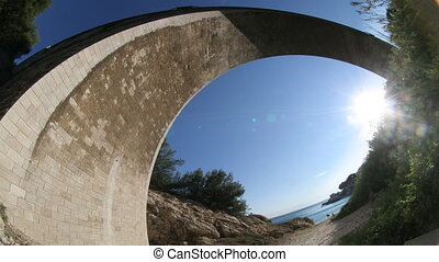 train bridge over beach with fish-eye lens