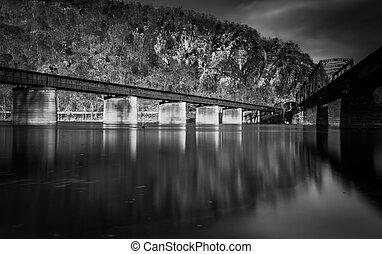 Train bridges crossing the Potomac River, in Harper's Ferry