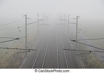 train, brouillard,  rails