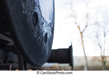 Train bumper buffer - Lubricated with black grease an...