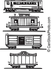 Train Car Collection - Woodcut style images of railroad...