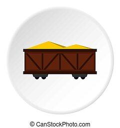 Train cargo wagon icon circle