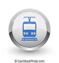 Train chrome border web and smartphone apps design round glossy icon.