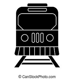 train city icon, vector illustration, black sign on isolated background