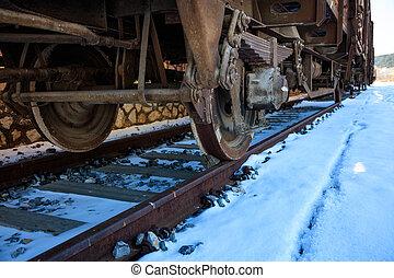 Train closeup on snowy railroad tracks