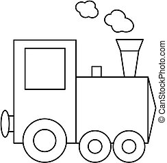 Train coloring book page.