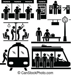 A set of pictograms representing people in the train station and at the subway.