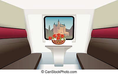 train compartment with a table and flowers