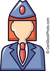 Train conductor icon, cartoon style