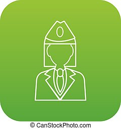 Train conductor icon green vector