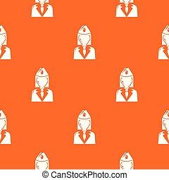 Train conductor pattern vector orange