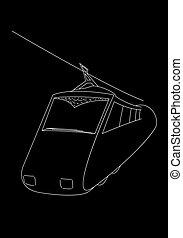 train contour vector illustration isolated black background