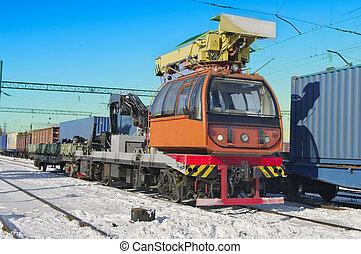 Train crane carriage.