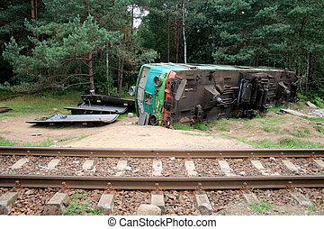Train crash - Fatal train crash. Derailed locomotive laying ...