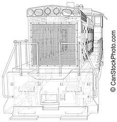 train., criado, locomotiva, 3d, eps10, wire-frame, vetorial, format.