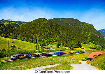 Train crossing countryside near hills, Switzerland