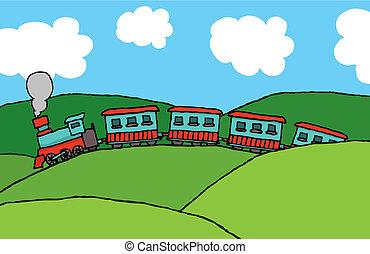 Train cruising through hills