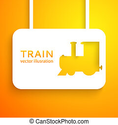 Train cut out of paper on color background. Vector illustration for your funny transportation design. Picture of the cute orange steam engine. Sign of locomotive, shipping operations, traffic.