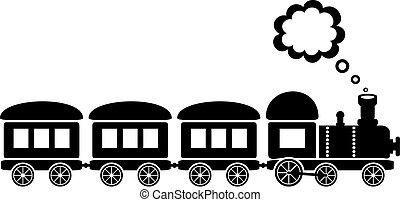 Train - cute black train on white background