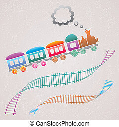 Train - Cute colored retro card with train and track