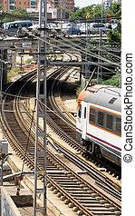 train, dépassement, pistes, chemin fer