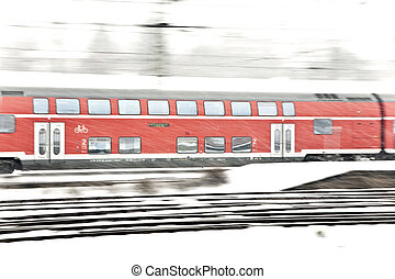 train, dans, hiver, piste, dans, neiger rafale