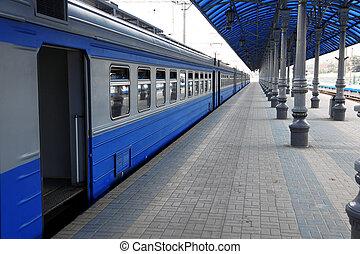 train, dans, station
