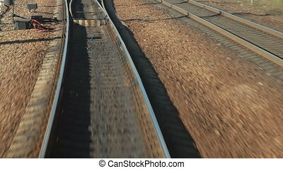 Train departs from station POV