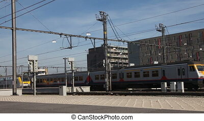 Train departure   - Train departs railway station