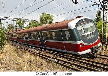 Train derailment - Derailed electric multiple unit (EMU)