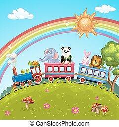 train, dessin animé, animal