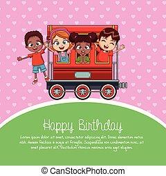 train, dessin animé, anniversaire, heureux
