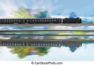 train, distance, pont, long, ferroviaire