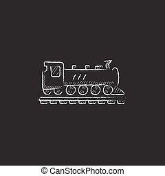 Train. Drawn in chalk icon.