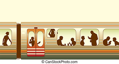 Editable vector illustration of passengers on a train