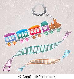 Train - Cute colored retro card with train and track