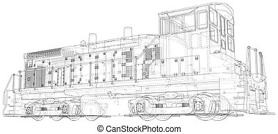 Train. EPS10 format. Vector created of 3d, Wire-frame