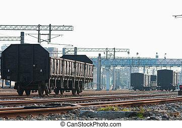 train ferroviaire, chariots, fret